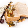 Gavel scales of justice,money and old book — Stock Photo #39275041