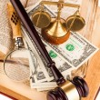 Magnifying glass , gavel and old law books — Stock Photo