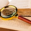 Magnifying glass and old books — Stock Photo #39795849