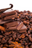 Chocolate and coffee beans — Stock Photo