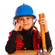 Girl and the construction helmet — Stock Photo