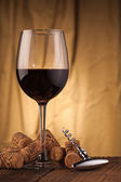 Wine glass with corkscrew — Stock Photo