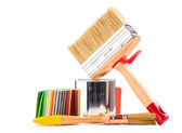 paintbrushes  and can of paint — Stock Photo