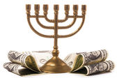 Hanukkah menorah with dollar money — Stock Photo