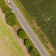 Aerial view of village road and harvest fields — Stock Photo