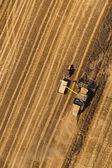 Aerial view of combine on harvest field  — Stock Photo
