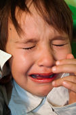 Crying little girl with tears on eyes — Stock Photo