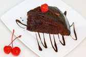 Piece of chocolate cake on a plate — Stock Photo