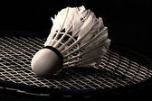 A white shuttlecock isolated on black — Stock Photo