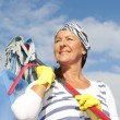 Spring cleaning woman outdoor — Stock Photo