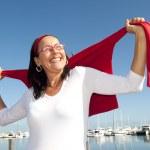 Happy active retirement woman — Stock Photo