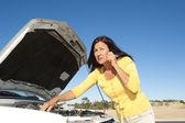 Stressed woman car breakdown — Stock Photo