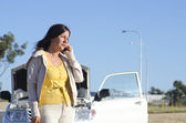 Woman car breakdown road assistance — Stock Photo