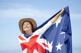 Woman and Australian Flag isolated — Stok fotoğraf
