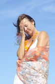 Senior woman migraine headache menopause — Stock Photo