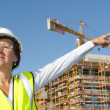 Stock Photo: Portrait womengineer construction site