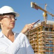Stock Photo: Portrait womarchitect construction site