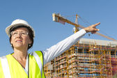 Portrait woman engineer construction site — Stock Photo