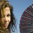 Beautiful sexy girl with Spanish folding fan — Stock Photo #19942663