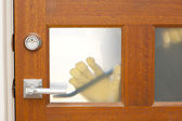 Thief housebreaking security door crowbar — Stock Photo