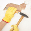 Stock Photo: Interior House wall renovation hammer and chisel