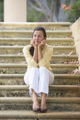 Mature woman looking stressed and lonely — Stock Photo