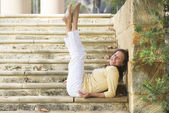 Confident happy mature woman legs up outdoor — Stok fotoğraf