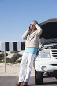 Stressed woman car break down — Stock Photo