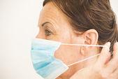 Yüzüne maske ile portre sağlık hemşire — Stok fotoğraf