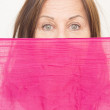 Woman behind cloth confident view — Stock Photo
