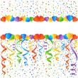 PostcardStreamersConfetti - Stock Vector