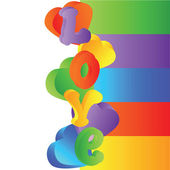 ColorfulHeartAndLove — Stock Vector