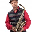 Portrait of attractive young saxophonist — Stock Photo