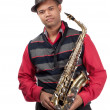 Portrait of attractive young saxophonist — Stock Photo #28837317