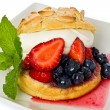 Strawberry and Blueberry Shortcake — Stock Photo