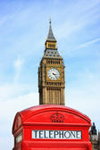 Red Telephone Box with Big Ben in background — Stock Photo