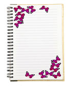 Notebook with Butterfly — Stock Photo