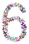 Номер шесть, состоящая из бабочек — Стоковое фото