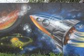 Graffiti - ruimteschip — Stockfoto
