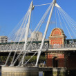 Stock Photo: Hungerford Bridge and Golden Jubilee Bridges in London
