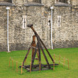 A trebuchet is a type of catapult  that was employed in the Midd — Stock Photo