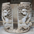 Marble sarcophagus with two lions  — Stock Photo