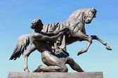 The Horse Tamer. Fragment of Anichkov Bridge in St. Petersburg — Stock Photo