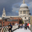 London Millennium Footbridge and St. Paul's Cathedral — Stock Photo