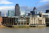Modern London city office skyline by River Thames — Stock Photo