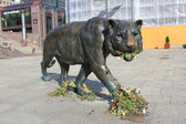 Sculpture walking tiger in the Oslo Central Station square, Norw — Stock Photo
