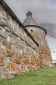 Solovetsky Monastery. Solovki fortress wall with towers — Stock Photo