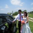 Groom open the car door for the bride — Stock Photo #29080305