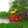 Group of people in traditional costume palanquin procession of h — Photo