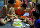 Birthday party of boy — Stock Photo